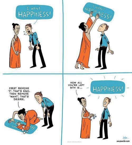 """1. Ja chcę szczęścia. 3. Najpierw usuń """"ja"""". To jest ego. Potem usuń """"chcę"""". To jest pragnienie. 4. W ten sposób zostało tylko... szczęście."""
